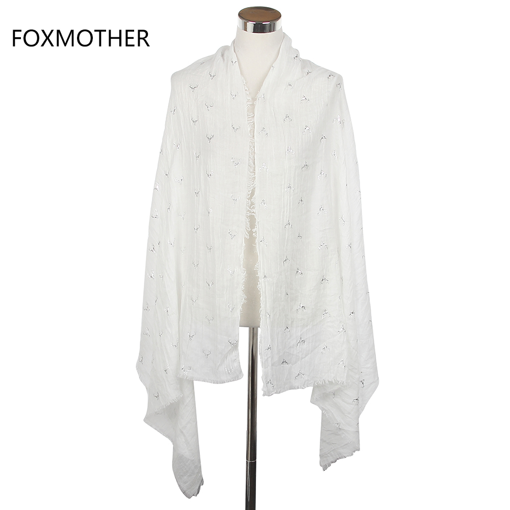 FOXMOTHER 2019 New Women Fashion White Bronzing Silver Stag Moose Deer Head Long Scarves Wrap Shawls With Fringe in Women 39 s Scarves from Apparel Accessories