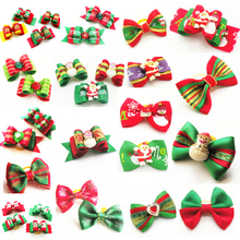 100PC/Lot Christmas Dog Bows Ribbon Pet Hair Bows Dog Grooming Accessories Holiday