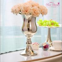 European silver plated tabletop metal vase Decorative Flowers tall vases for wedding metal flower vases home decoration HP065