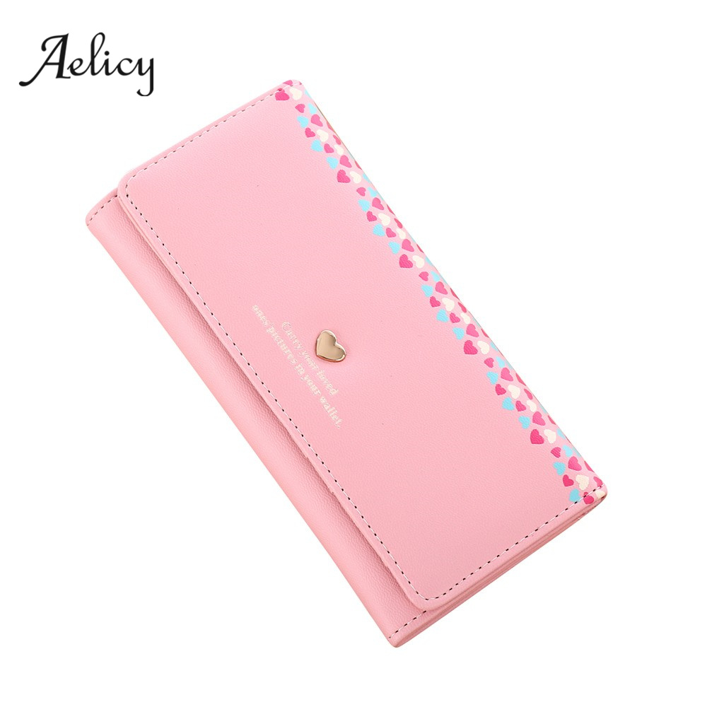 Aelicy High Quality Women Love Heart Pattern Coin Purse Long Wallet Card Holders Handbag PU Leather Crossbody Tote Bag 5