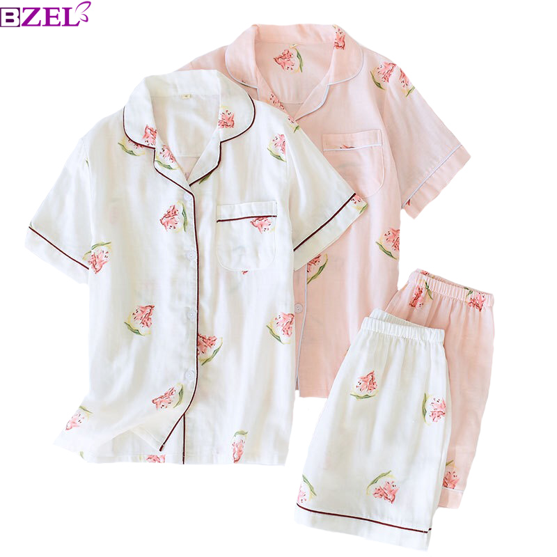 2019 New Summer Ladies 100% Gauze Cotton Floral Printed Pajama Set Thin 2 Piece Set Short-Sleeve+Shorts Household Wear Sleepwear