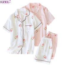 2019 novas senhoras de verão 100% gaze algodão floral impresso pijama conjunto fino 2 peça conjunto de manga curta + shorts uso doméstico pijamas