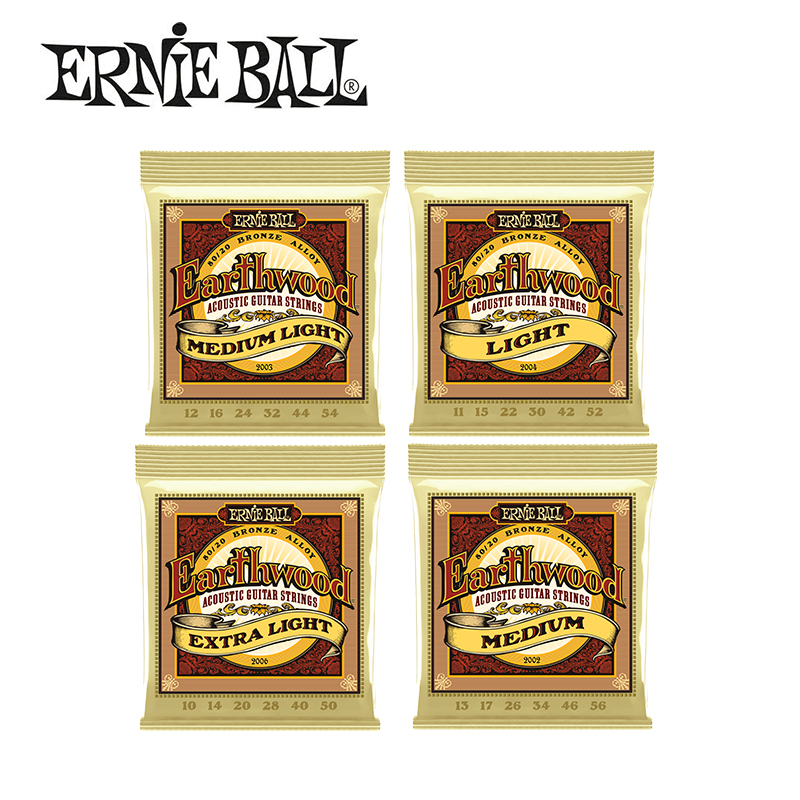 Original Ernie Ball 2002/2003/2004/2006 Earthwood Bronze Acoustic Guitar Strings Bronze Alloy 80/20