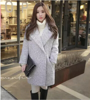 South Korea Female Long Thickening Type Cocoon Han Edition Cloth Coat Students Loose Han Fan Contracted