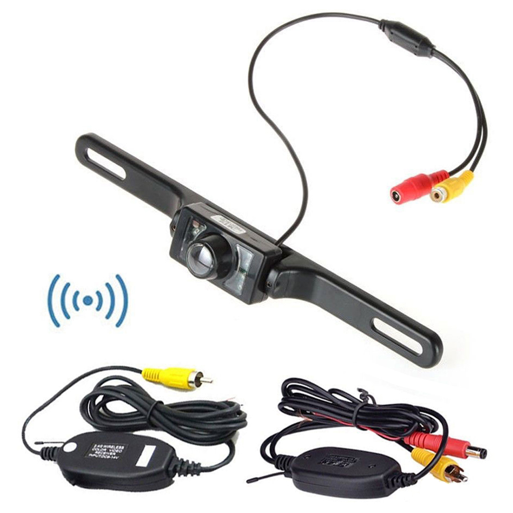 2.4 ghz Wireless Rear View Camera HD Car Reversing License Plate Camera Night Vision Wireless Rearview Camera for Car Monitor image