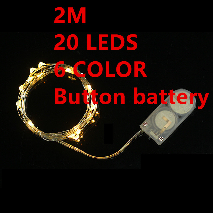 6 color 2M 20leds Fairy font b String b font Lights lamp Button battery Operated Mini