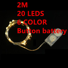 6 color 2M 20leds Fairy String Lights lamp Button battery Operated Mini LED Decorative holiday lighting