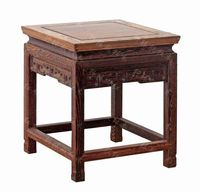 Direct red wood carving furniture, handicrafts odd square jade bonsai wenge base station a small square stool