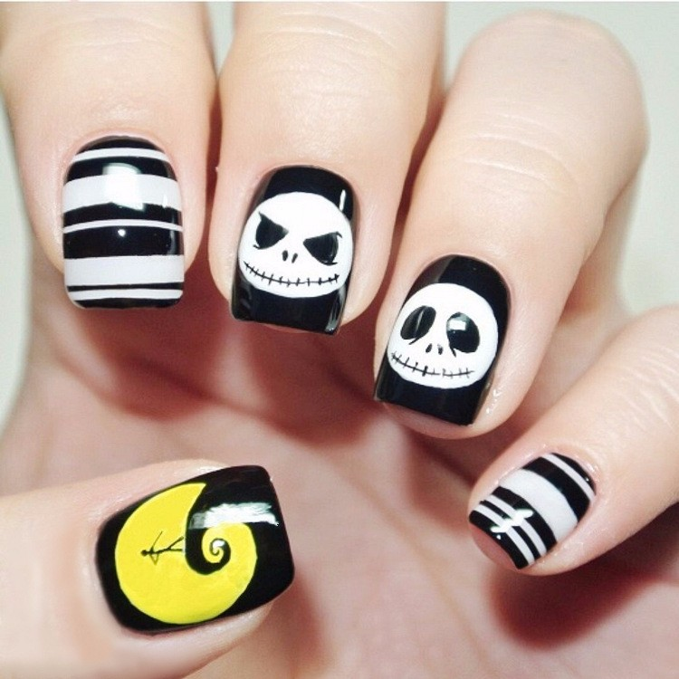 YW 60 Halloween yellow moon short nail festive holiday nail patch ...