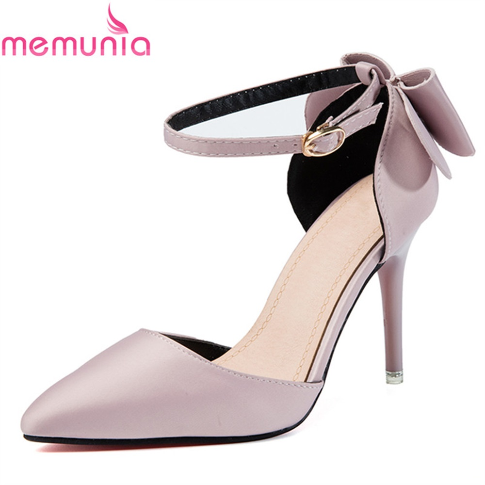 MEMUNIA women pumps fame bridal shoes spring autumn med heeld pointed toe elegant new arrive fashion high heels shoes memunia 2017 fashion flock spring autumn single shoes women flats shoes solid pointed toe college style big size 34 47