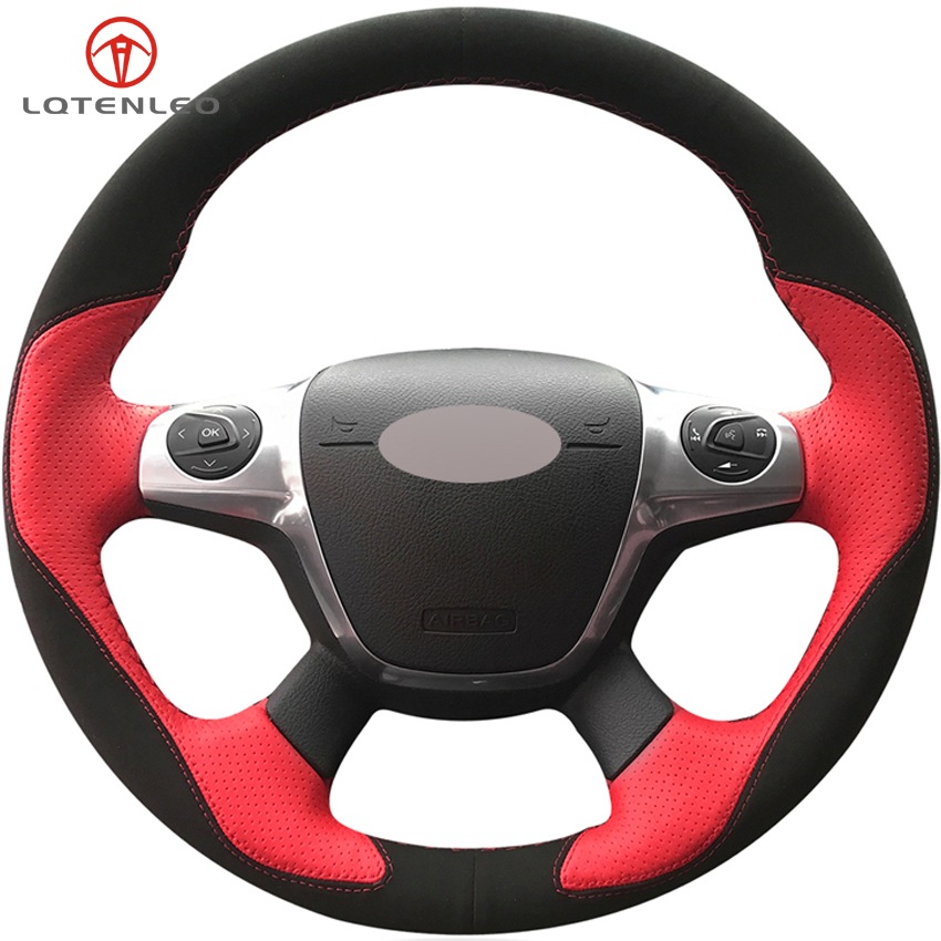 LQTENLEO Black Suede Red Leather Steering Wheel Cover For Ford Focus 3 2011 2014 KUGA Escape