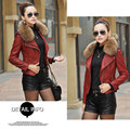 S-3XL Brand women leather jacket 2016 winter & autumn fashion fur collar zipper coat female Motorcycle Pu skin jacket outwear