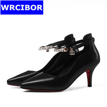 Women's shoes woman pumps Red bottom High heels 2017 womens Genuine leather pointed toe thick heel ankle strap shoes women
