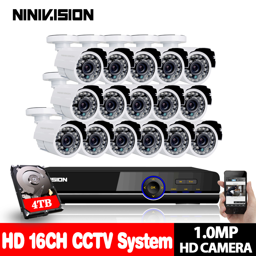 HD 1080P 16CH AHD DVR 720P Security Kit IR-CUT Night Vision outdoor 1.0MP AHD Camera Home DIY 16CH 1080P CCTV AHD Camera System home security system 16ch h 264 motion detect camera system dvr kit with 800tvl waterproof outdoor ir night vision cctv camera
