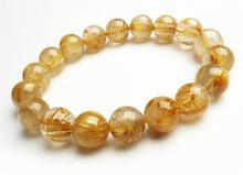 11mm Natural Titanium Gold Rutilated Quartz Crystal Woman Man Wealthy Round Beads Bracelet Jewelry Bangle AAAA