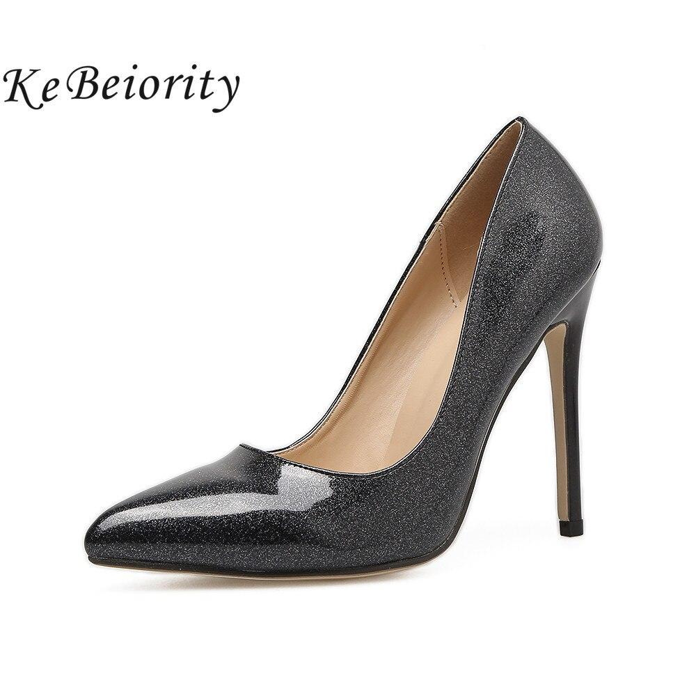 De Black Punta Moda grey Pie Negro Sexy Zapatos Señoras Kebeiority Mujeres  Altos 2018 Del En Tacones Las Estilete Bombas ... 210ef854736b