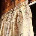 Бесплатная доставка Высокое качество тюбик вышивка занавеска много цветов кружевная кофейная занавеска для кухни Короткая занавеска небо...
