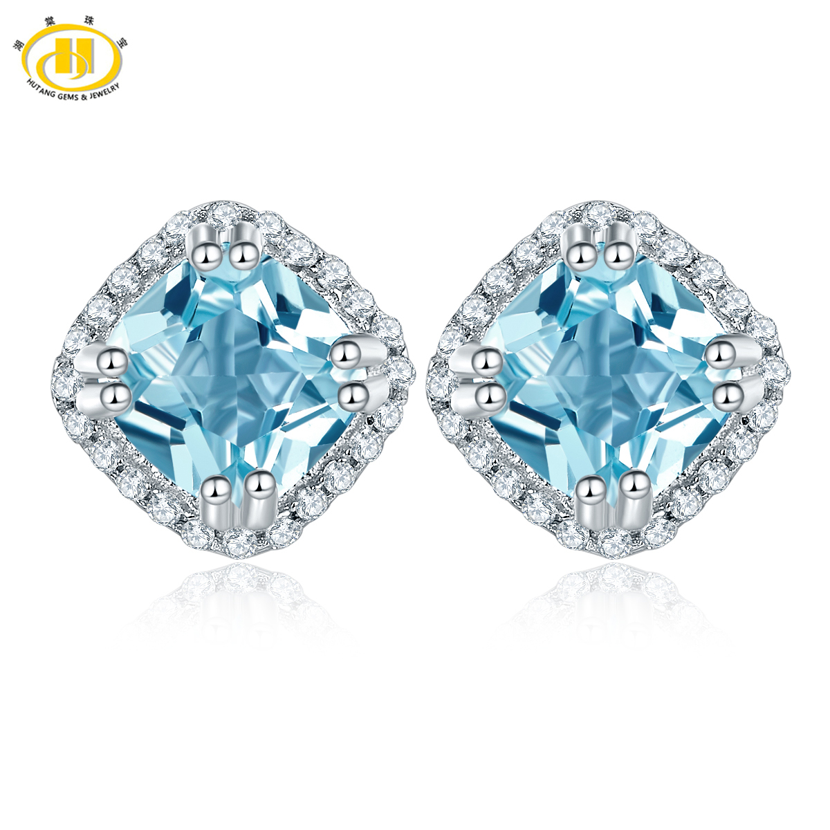 Hutang 2.18ct Sky Blue Topaz Solid 925 Sterling Silver Halo Stud Earrings Gemstone Fine  ...