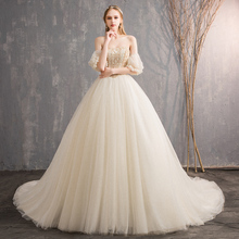 FOLOBE Princess Strapless Beading Ball Gown Wedding Dresses