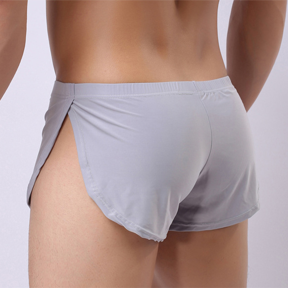 Male Panties Underwear Boxers Breathable Men Boxer Pajamas Side Split Solid Underpants Cueca Homem Comfortable Shorts Sleepwear