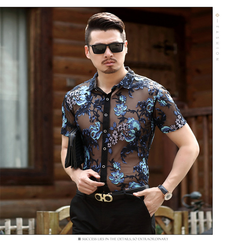 Men Transparent Sexy Lace Shirt For Male See Through Mesh Shirt Club Party Prom Chemise Homme camisa masculina 4XL