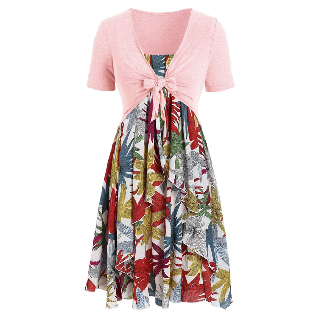 Beach Casual Loose Fashion Bohemian Long Dress Summer Ladies Print Dresses Evening Party Elegant short-sleeved V-neck Maxi Dress