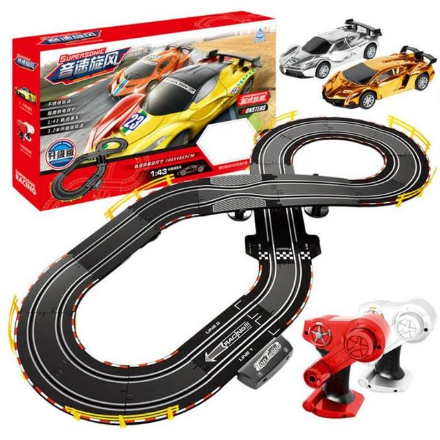 Hand Cranking Circuit Remote Control Track Racing Parent-child Interaction 1:43 Racing Track Toy For Children Toy Car Gifts