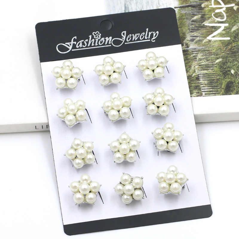 12 Buah/Bungkus Kecil Simulasi Mutiara Bunga Bros Pin untuk Wanita atau Anak-anak atau Tas Dekorasi Perhiasan