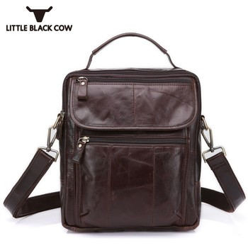 Casual Book Notebook Bag Man Vertical Zipper Sling Bag School Satchel Genuine Leather Men Totes Male Handbag Mochilas Escolares
