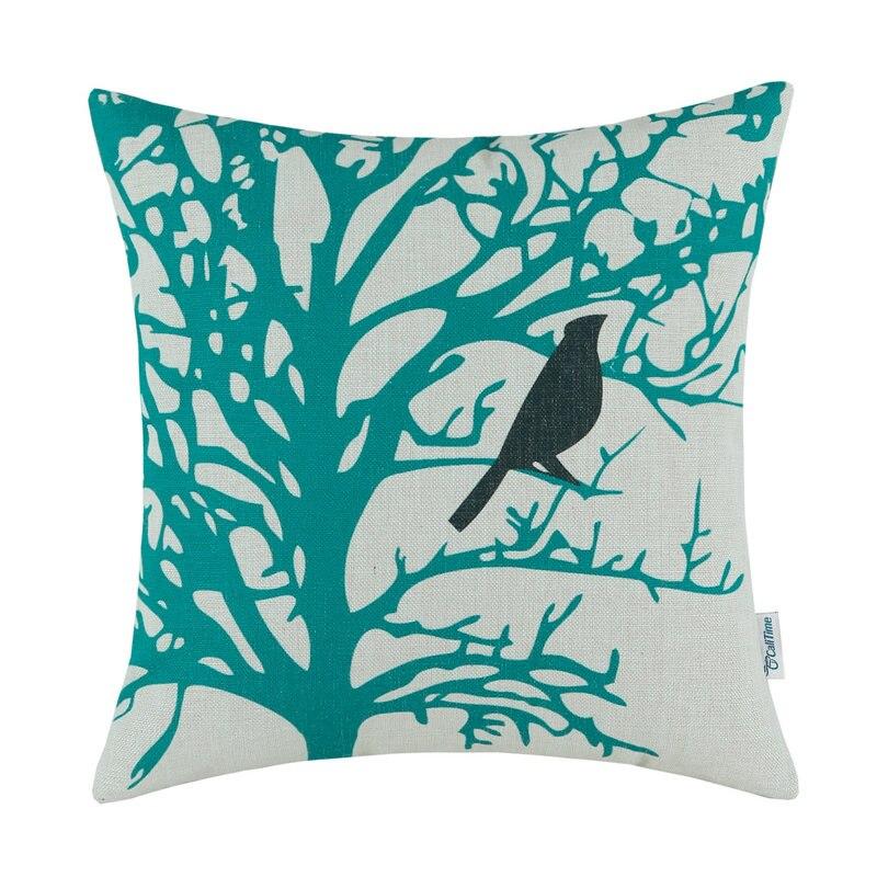 Calitime الوسائد الزخرفية قذيفة سيارة أريكة وسادة تغطي المنزل تيل شجرة الطيور السوداء 18
