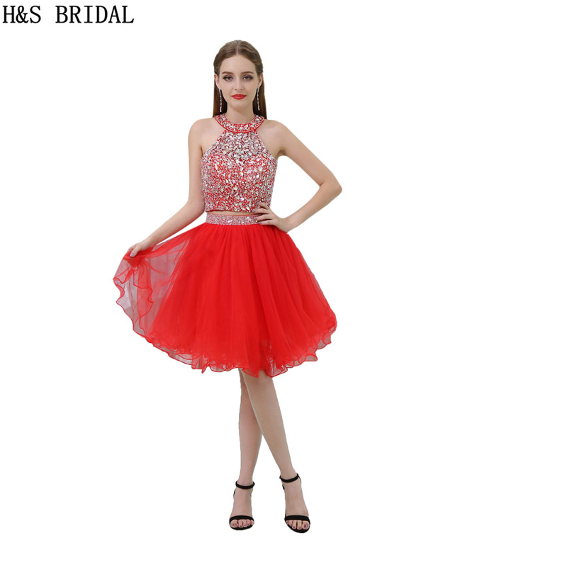H&S BRIDAL Red   Prom     Dress   Short Halter Crystal Beaded Two Pieces Short Evening   Dresses   Backless short   prom     dresses   champagne