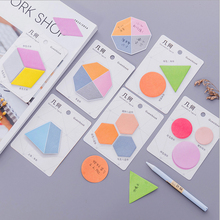 лучшая цена 1X kawaii Geometric shape Color message notes Sticky Notes Post It Memo Pad Korean stationery School Supplies Planner Stickers