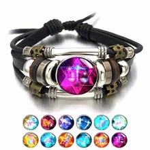 Adjustable 306 Zodiac Signs Men Bracelets Bangles Alloy Buckles Vintage Punk Really Leather for Women Charm Gift