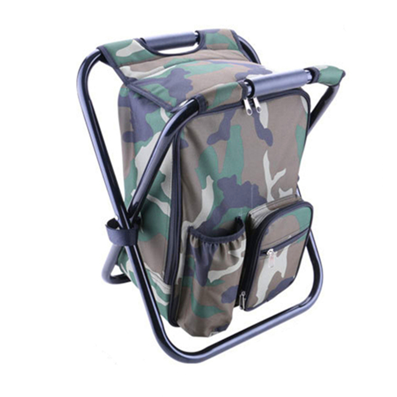Foldable Camouflage Fishing Chairs Bags Multifunctional 600D Oxford+PEVA Waterproof Layer Cool Fishing Bag Backpack Chair