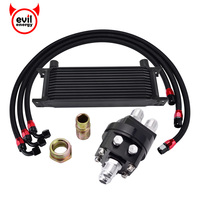 evil energy 13ROW 10AN Oil Sandwich Plate Adapter+1M/1.2M/1.4M Stainless Steel Swivel hose line+Engine Racing Oil Cooler Kit