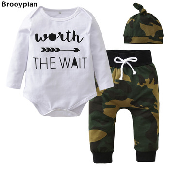 2018 Autumn Style Baby Boys Girls Clothes Set Newborn Long sleeve Letter Romper Tops+Camouflage Pants+Hat 3pcs Toddler Clothing