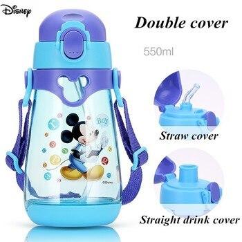 Disney Kids Baby Water Bottle Tritan BPA Free Children Cup Baby Portable Feeding Bottle With Straw Leak Proof Durable Water Cup