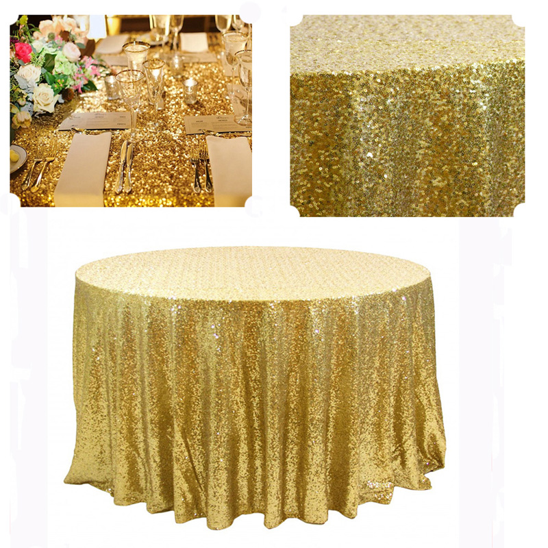 5pcs best fit 132in round gold mesh embroidery wedding sequin tablecloth for 6ft table