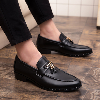 7f40cb32 Zapatos de vestir de marca de lujo para hombre zapatos de moda con borla  mocasines zapatos de cuero genuino vestido formal italiano Oficina oxfords  zapatos ...
