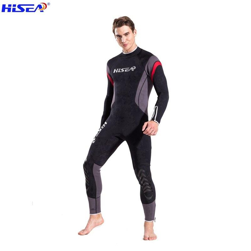 Hisea 2.5mm hommes néoprène combinaison Super élasticité couleur couture Surf équipement de plongée méduse vêtements à manches longues h4