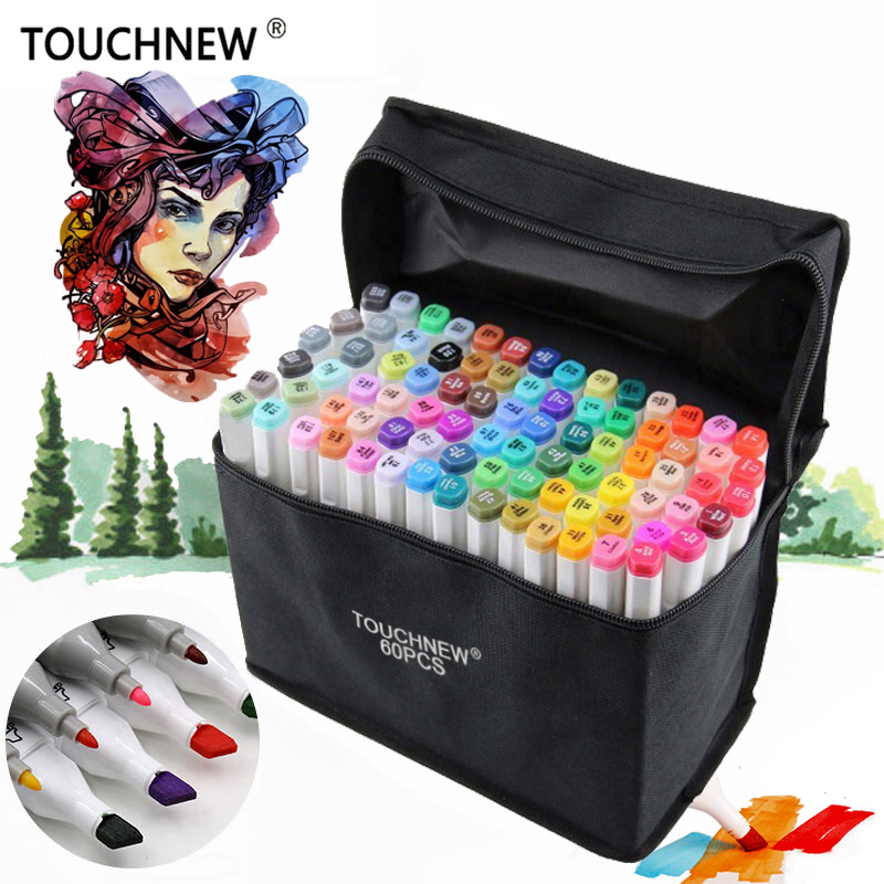 TOUCHNEW Art Markers 30/40/60/80Colors Artist Dual Headed Marker Set Manga Design School Drawing Sketch Markers Pen Art Supplies dainayw 12 cool grey colors marker pen grayscale dual head art markers set for manga design drawing school student supplies