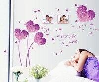 2016 New Design DIY Bedroom Background Wall Stickers Home Decor Art Purple Love Grass Photo Frame