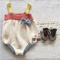 Recém-nascidos Macacão 2017 Algodão Romper Do Bebê Da Menina Do Menino ins Super Bonito Cor Splicing Macacão Da Criança Macacão de malha roupas de bebê