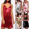 Plus Tamaño de Las Mujeres del Verano Correa de Espagueti V cuello Halter Backless Atractivo del Mini Vestido de Las Señoras de Seda de Satén de Moda Vestidos de Deslizamiento
