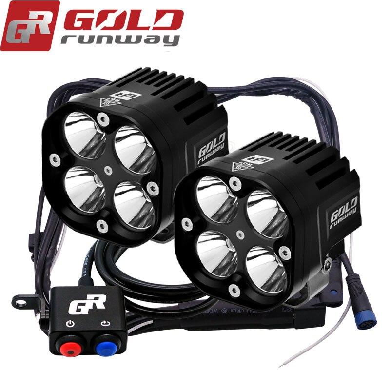 2X U3 LED Universel 3 mode Moto Brouillard Lumière Auxiliaire Lampe Boîtier En Aluminium 4200lm Moto Phare Camion Spot Light esprit