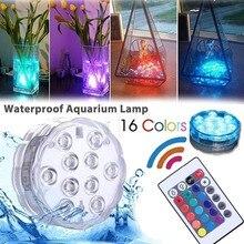 Подводный 10 светодиодный Ночной светильник с батареей 16 цветов RGB Рождественский светильник для бассейна водонепроницаемый Декор атмосфера+ 24key ИК пульт дистанционного управления
