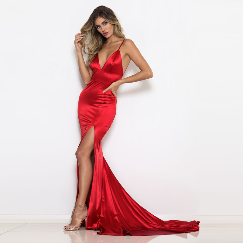 Red Deep V-Neck Open Back Slim Long Dress Green Blue Evening Party Dresses V Neck Backless Elegant Mermaid