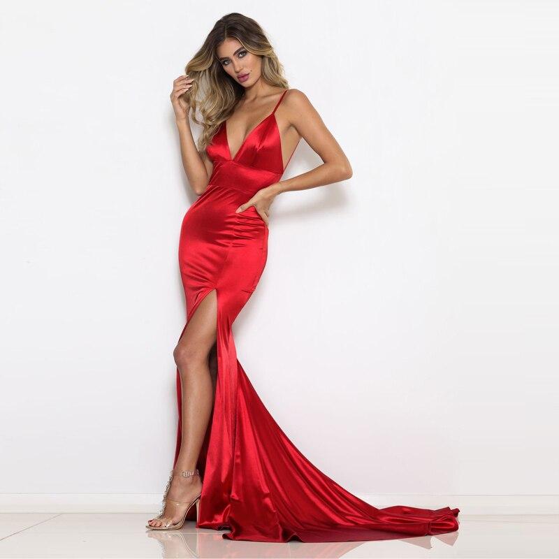 Rouge profonde col en V dos ouvert Slim longue robe vert bleu robes de soirée col en V dos nu élégant robes de sirène