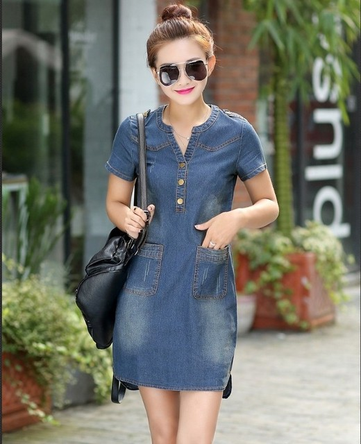 Short sleeves loose A word dresses plus sizes v-neck solid denim dress 5