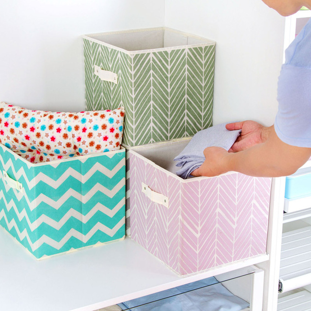 Non Woven Square Box Storage Box Finishing The Desktop Toy Storage Basket  Wardrobe Without Cover